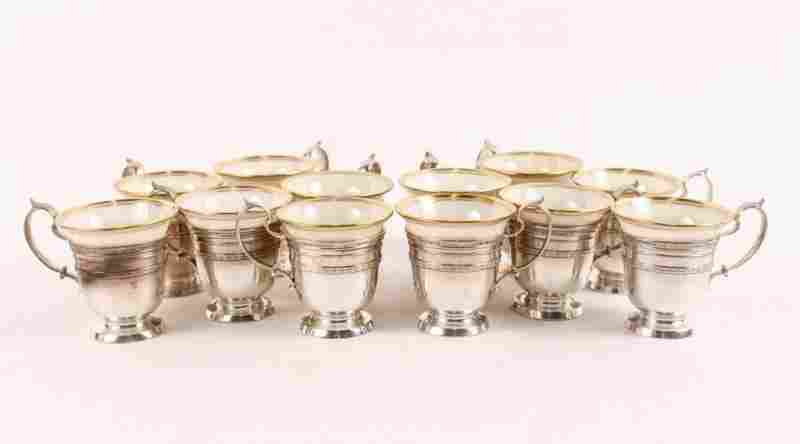 12 Lenox Demitasse Cups w/ Gorham Sterling Holders