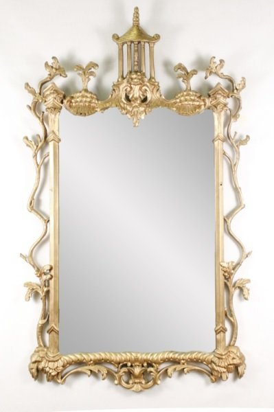 Chinese Chippendale Style Carved Wall Mirror