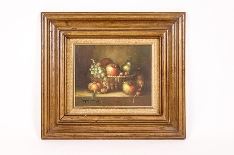 """Oil on Canvas, """"Still Life in Basket"""", Signed"""