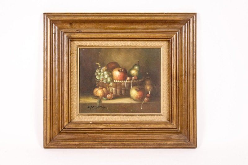 "Oil on Canvas, ""Still Life in Basket"", Signed"