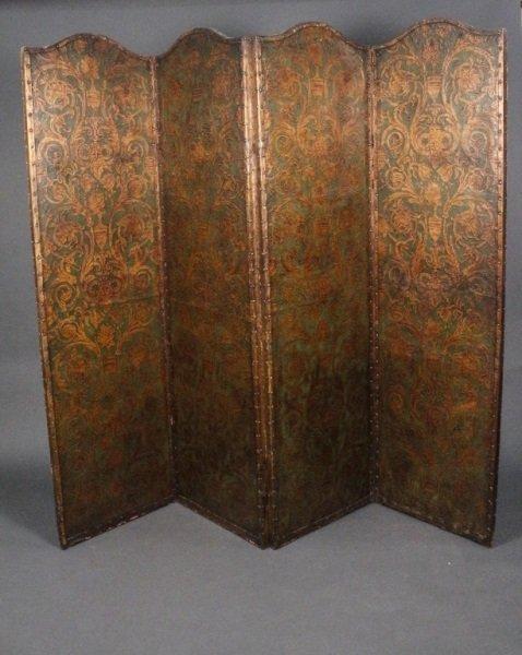 Italian Embossed Leather Four Panel Floor Screen