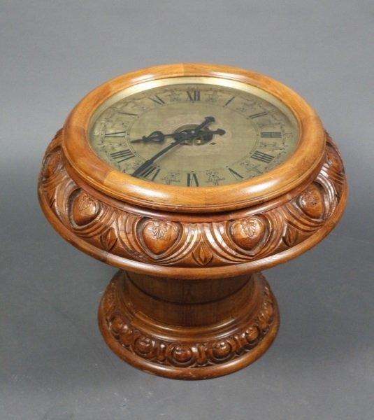 Vintage Oak Floor Clock Table