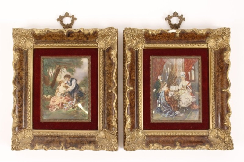Pair of Small Rococo Style Figural Paintings