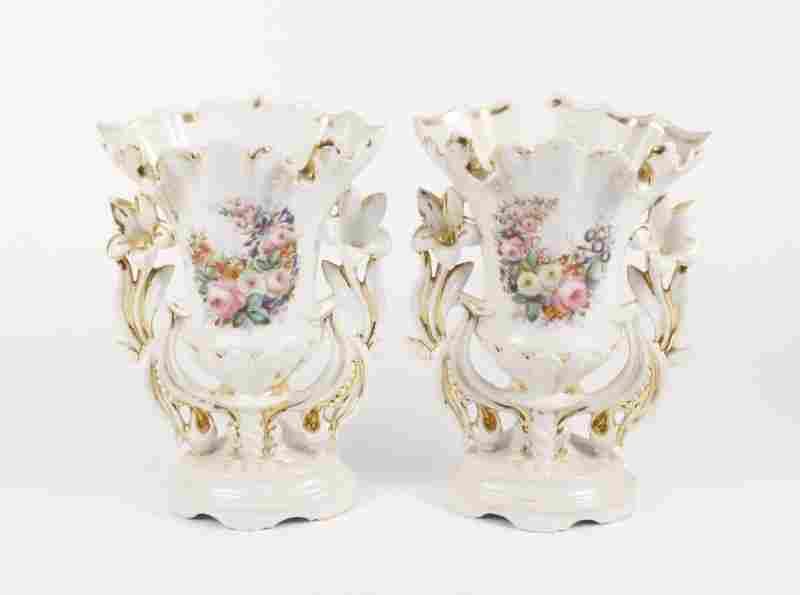 Pair of Old Paris Style Porcelain Vases