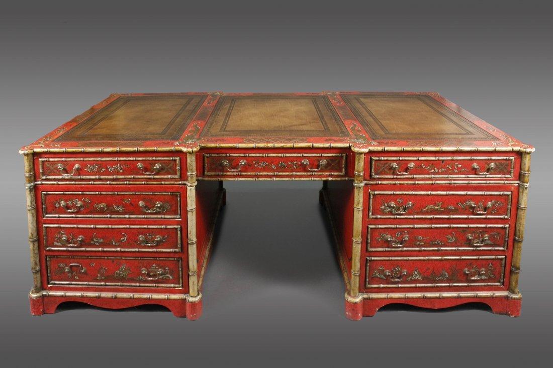 Regency Style Chinoiserie Decorated Partner's Desk