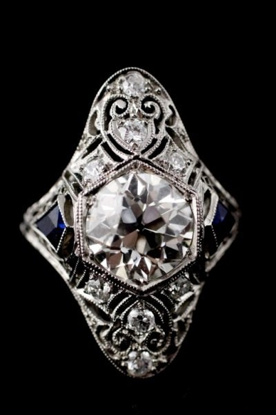 Art Deco Dome Ring w/Diamonds & Sapphires