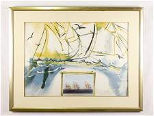 Dali American Yachting Scene Signed Lithograph