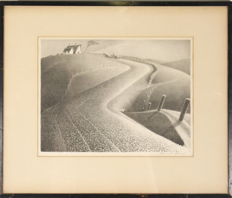 "Grant Wood ""March"" Signed Lithograph, AAA"