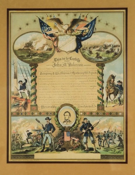 Civil War Union Soldier Hon. Discharge Certificate - 2