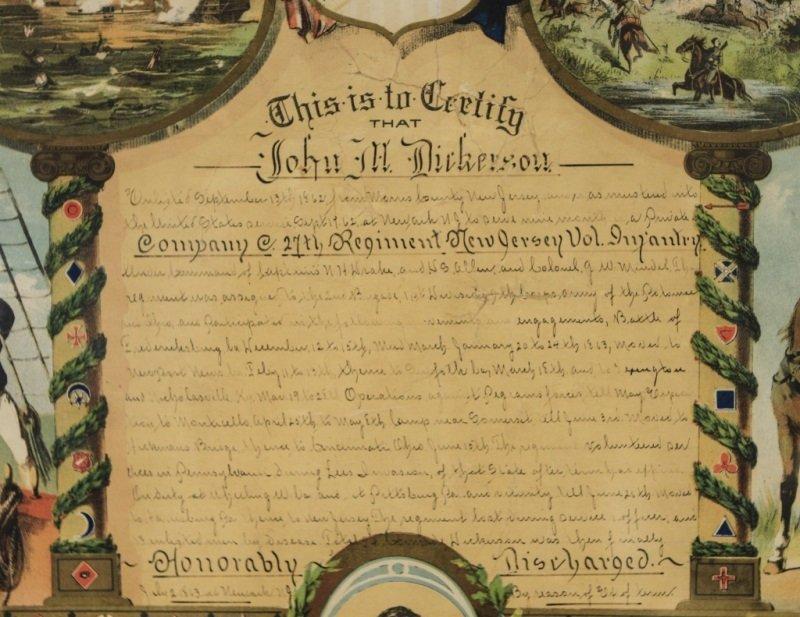Civil War Union Soldier Hon. Discharge Certificate - 3