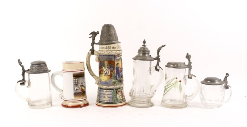 Collection of 6 German Tankards or Bier Steins