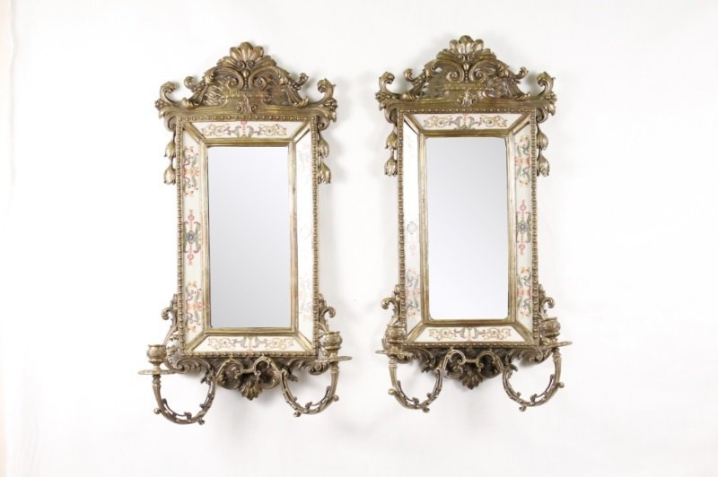 Pair of Bronze, Porcelain, Mirrored Candle Sconces