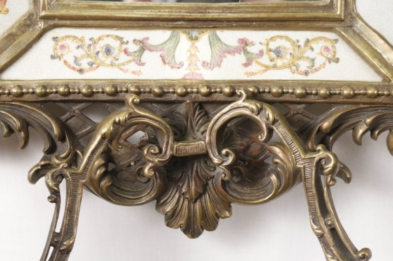 Pair of Bronze, Porcelain, Mirrored Candle Sconces - 2