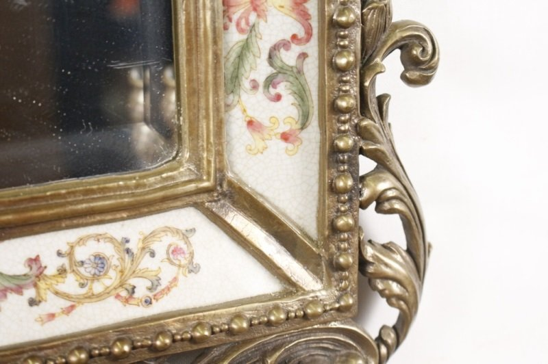 Pair of Bronze, Porcelain, Mirrored Candle Sconces - 5