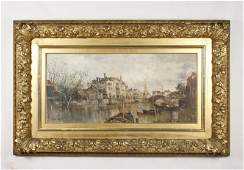 Venice Canal Scene, Early 20th C. O/C, Jules Veron