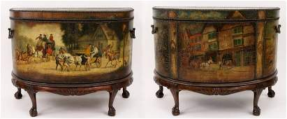 Pair of English Leather Painted Carriage Trunks