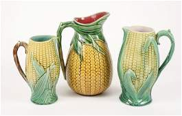 Collection of 3 Majolica Corn Motif Pitchers