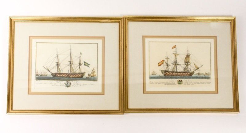 After G. Allezard, Pair of Colored Ship Engravings
