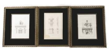 3 French Architectural Engravings 19th C