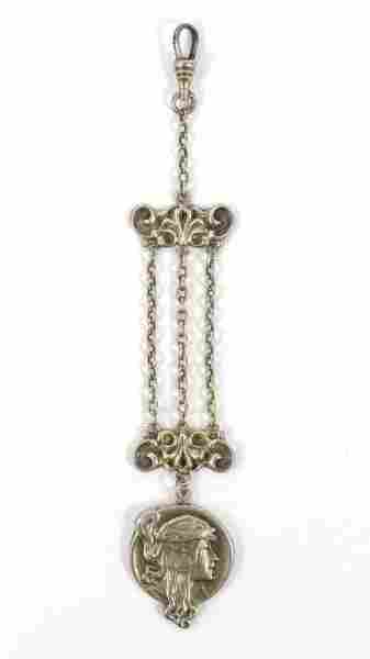 Art Nouveau Sterling Silver Figural Watch Fob