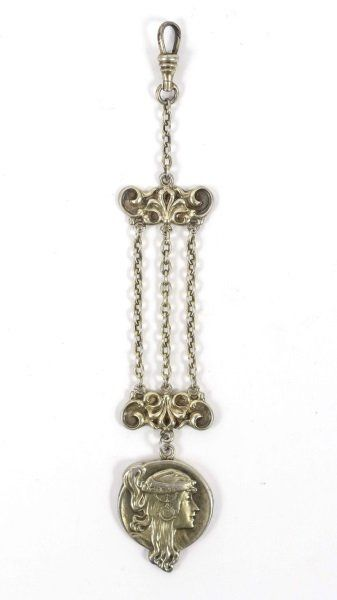 Art Nouveau Sterling Silver Figural Watch Fob