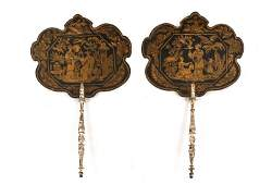 Pair of Regency Chinoiserie Hand Fans E 19th C