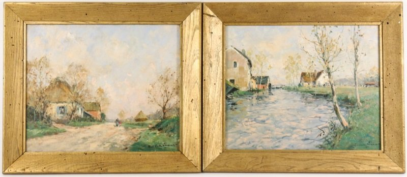 Paul Emile Lecomte, Pair of French Landscapes, Oil