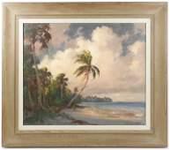 Albert Ernest Backus Florida Coast Oil Signed