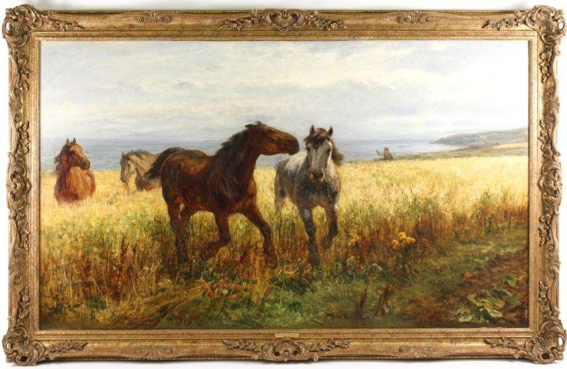 W.H.B. Davis, English 19th/20th Oil, Horses by Sea