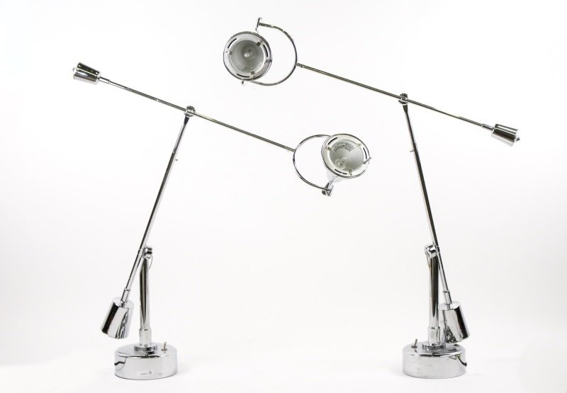 Pair of Modernist Chrome Cantilever Table Lamps