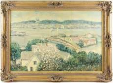 Manner of Twachtman Harbor Scene Oil on Canvas