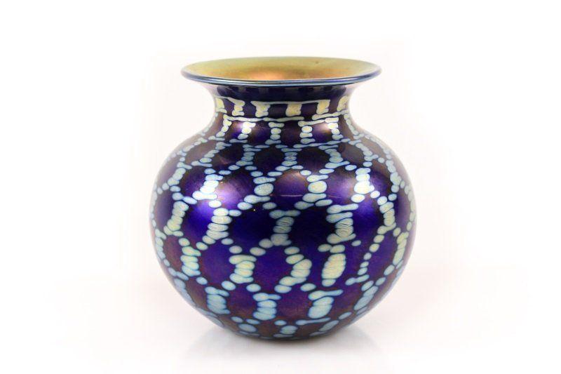 Lundberg Studios Art Glass Table Vase, Marked