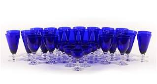 37 PC Cobalt  Crystal Glass Set