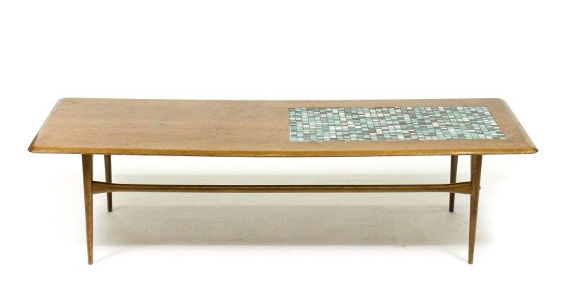 Selig Mid Century Modern Teak & Tiled Coffee Table