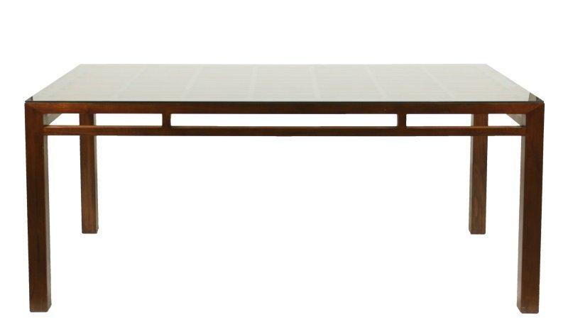 Maria Yee Mahogany & Glass Top Dining Table