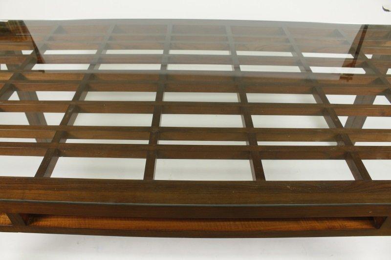 Maria Yee Mahogany & Glass Top Dining Table - 2
