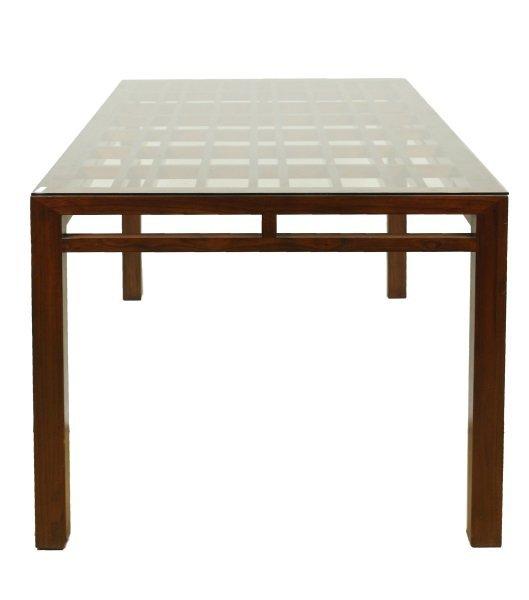 Maria Yee Mahogany & Glass Top Dining Table - 7