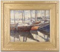 In The Harbor 1917 Signed American School Oil