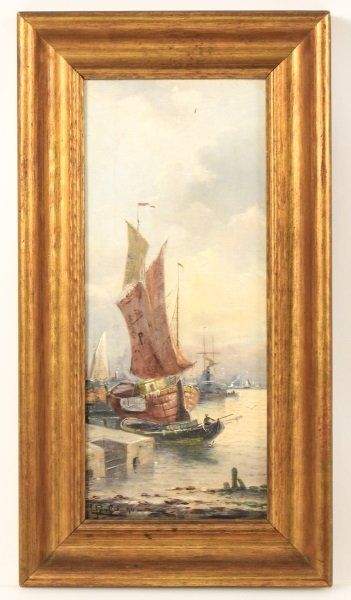 19th C. American School Signed O/C Boats in Harbor