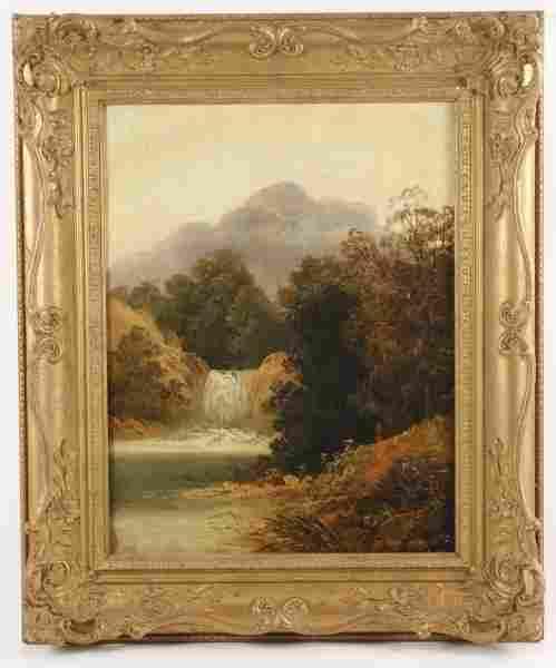 "American School Landscape ""The Waterfall"", O/C"