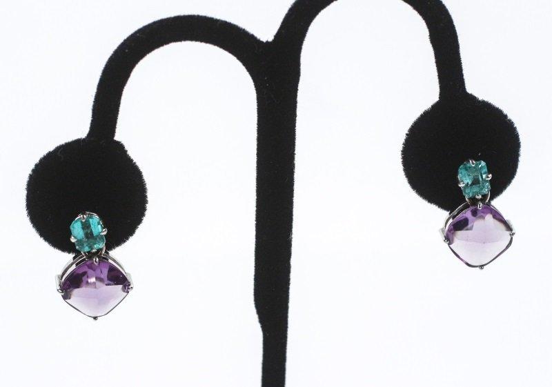 Pair of 18k Gold, Emerald & Sapphire Earrings