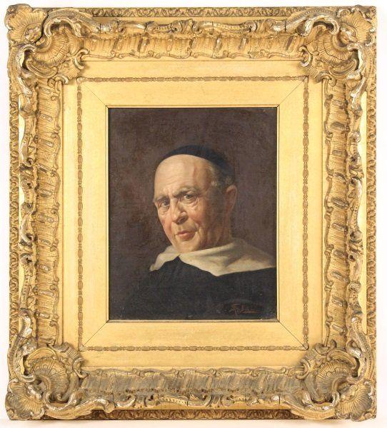 """19th C. American School """"Portrait of a Priest"""" O/C"""