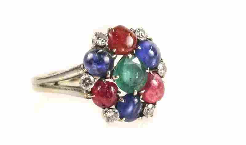 14k White Gold Ring w/ Ruby, Sapphire & Emerald