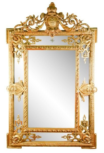 "Louis XVI Style Giltwood ""Cushion"" Mirror, 19th C"