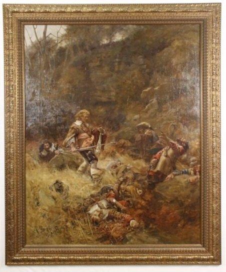 "Robert Payton Reid, 19th C. Oil ""After the Battle"""