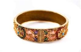 Indian 22k Gold Filigree & Gem Bangle Bracelet