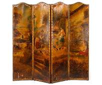 19th C Leather Scenic Painted 4 Panel Screen