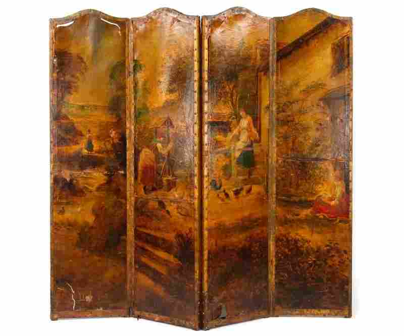 19th C. Leather Scenic Painted 4 Panel Screen