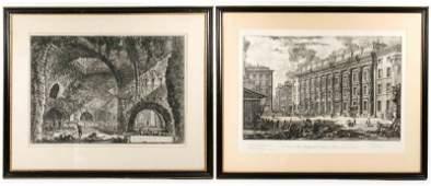 """Pair of Etchings from Piranesi's """"Vedute di Roma"""""""