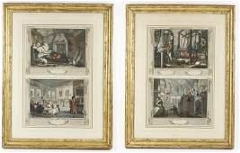 4 18th C Engravings Hogarth Industry  Idleness